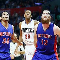 07 November 2016: Los Angeles Clippers forward Wesley Johnson (33) vies for the rebound with Detroit Pistons forward Tobias Harris (34) and Detroit Pistons forward Aron Baynes (12) during the LA Clippers 114-82 victory over the Detroit Pistons, at the Staples Center, Los Angeles, California, USA.