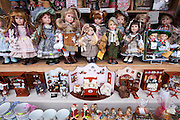 Toy shop window with dolls and traditional goods in Berchtesgaden in Baden-Wurttenberg, Bavaria, Germany
