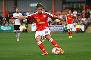 Crewe Alexandra&rsquo;s Billy Waters tries a shot at goal . Skybet football league one match, Crewe Alexandra v Port Vale at the Alexandra Stadium in Crewe on Saturday 13th Sept 2014.<br /> pic by Chris Stading, Andrew Orchard sports photography.