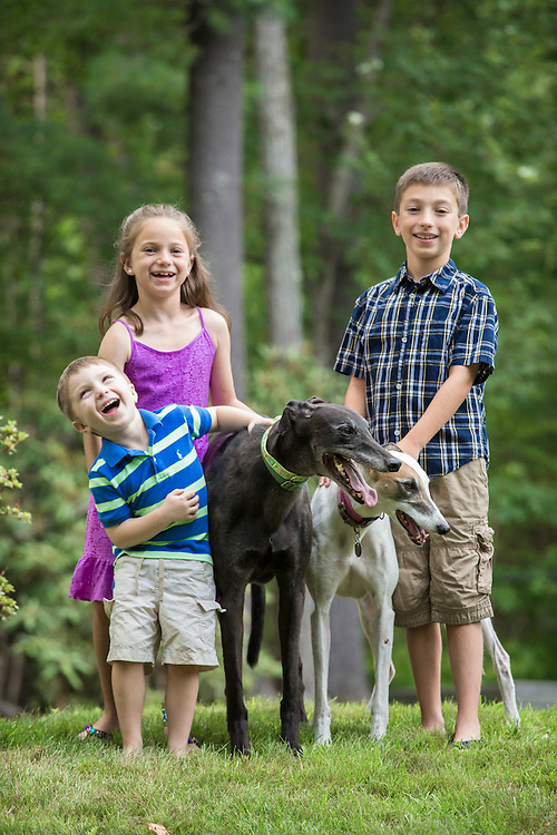 Children with greyhounds love a good joke