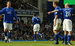 LIVERPOOL, ENGLAND - Saturday, April 19, 2003: Everton's captain David Weir walk off after being shown the red card against Liverpool during the Merseyside Derby Premiership match at Goodison Park. (Pic by David Rawcliffe/Propaganda)