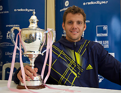 LIVERPOOL, ENGLAND - Saturday, June 19, 2010: Men's Champion Paul-Henri Mathieu (FRA) after the Men's Singles Final on day four of the Liverpool International Tennis Tournament at Calderstones Park. (Pic by David Rawcliffe/Propaganda)