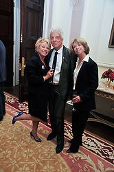 Left to right, ELAINE PAIGE, NICKY HASLAM and HELEN WORTH at a party to celebrate the publication of Gosling - Classic Design for Contemporary Interiors by Tim Gosling held at William Kent House, The Ritz Hotel, London on 1st October 2009.
