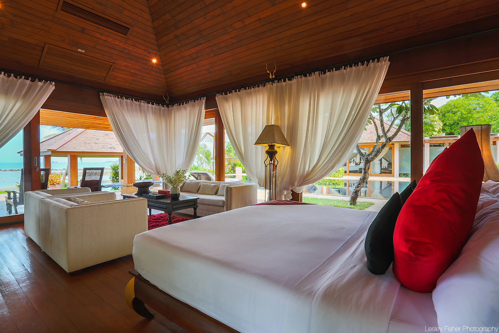 Master bedroom at Wanora, a private, luxury 6 bedroom beach from villa located in Laem Sor, Koh Samui, Thailand