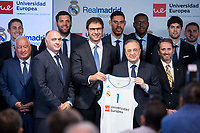 Real Madrid's coach Pablo Laso (L), Universidad Europea's CEO, Conrado Briceno   (C) and president of Real Madrid, Florentino Perez (R) with Real Madrid players on the background, Jaycee Carroll, Felipe Reyes, Gustado Ayon and Trey Thompkins during the presentation of the sponsorship agreement between Real Madrid baloncesto and Universidad Europea at Santiago Bernabeu Stadium in Madrid, Spain September 06, 2017. (ALTERPHOTOS/Borja B.Hojas)