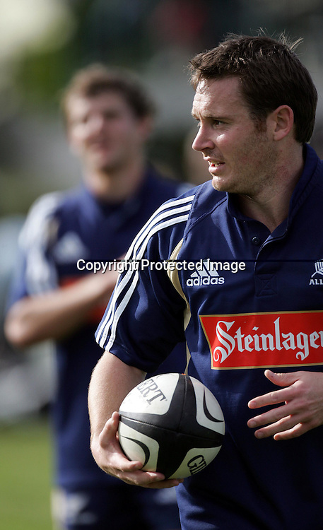 Andrew Mehrtens during the All Blacks training session at Silverdale United RFC, North of Auckland, New Zealand, Wednesday 7th July 2004. The All Blacks play the Pacific Islanders on Saturday.<br />