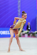 Averina Dina during final at clubs in Pesaro World Cup at Adriatic Arena on 15 April 2018.Dina is the 2017 and 2018 World All-around Champion. She was born on August 13, 1998 in Zavolzhye, Russia. Dina has a twin sister ,Arina is also herself a great gymnast.