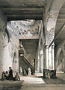 Mosque of Ahmad Ibn Tulun, Cairo: Interior of the Maqsura. 9th century. Lithograph from 'L'Art arabe d'apres les monuments du Caire' 1869-1877 by Emile Prisse d'Avennes, (1807-1879) French architect, engineer and orientalist.