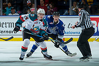 KELOWNA, CANADA - FEBRUARY 12:  Kyle Topping #24 of the Kelowna Rockets looks for the pass after the face off against Tyler Soy #17 of the Victoria Royals on February 12, 2018 at Prospera Place in Kelowna, British Columbia, Canada.  (Photo by Marissa Baecker/Shoot the Breeze)  *** Local Caption ***