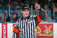 KELOWNA, CANADA - JANUARY 27: Referee Kyle Kowalski makes a call at the Kelowna Rockets against the Kamloops Blazers on January 27, 2017 at Prospera Place in Kelowna, British Columbia, Canada.  (Photo by Marissa Baecker/Shoot the Breeze)  *** Local Caption ***