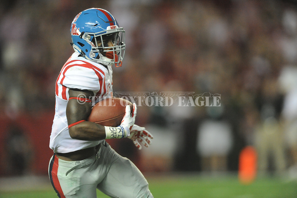 Ole Miss Rebels running back Jaylen Walton (6) vs. Alabama Crimson Tide at Bryant-Denny Stadium in Tuscaloosa, Ala. on Saturday, September 19, 2015. Ole Miss won 43-37.