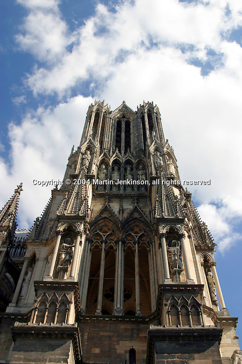 Notre Dame, the 13th century Gothic Cathedral Reims France.
