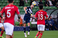 MELBOURNE, AUSTRALIA - APRIL 23: Carl Valeri (21) of Melbourne Victory controls the ball with his chest during the AFC Champions League Group Stage match between Melbourne Victory and Guangzhou Evergrande at AAMI Park on April 23, 2019 in Melbourne, Australia. (Photo by Speed Media/Icon Sportswire)