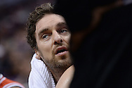 Nov 18, 2015; Phoenix, AZ, USA; Chicago Bulls center Pau Gasol (16) sits on the bench in the NBA game against the Phoenix Suns at Talking Stick Resort Arena. The Bulls won 103-97. Mandatory Credit: Jennifer Stewart-USA TODAY Sports