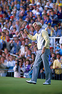 Moment of triumph as Greg NORMAN (AUS) holes out to win his first major  with a closing round of 69 for a total of 280 and a 5 shot margin over Gordon J BRAND (ENG) in second place during fourth round The Open Championship 1986,<br /> Turnberry Ailsa Course,Ayrshire,Scotland.