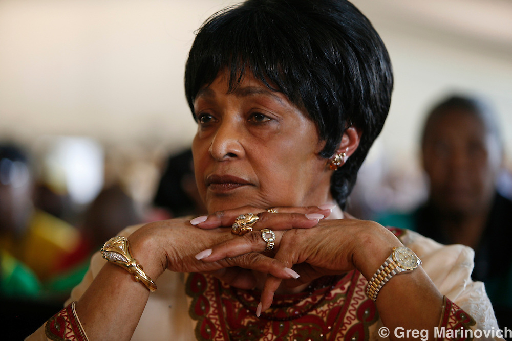 POLOKWANE, SOUTH AFRICA DEC 16, 2007: Winnie Madikizela-Mandela with the ANC Woman's League delegation at the conference to choose a new National Executive Committee - and the two presidential candidates - President Thabo Mbeki and Deputy President Jacob Zuma -   of the ruling African National Congress (ANC) campaign in Polokwane, Limpopo province, South Africa. Photo Greg Marinovich / Bloomberg News