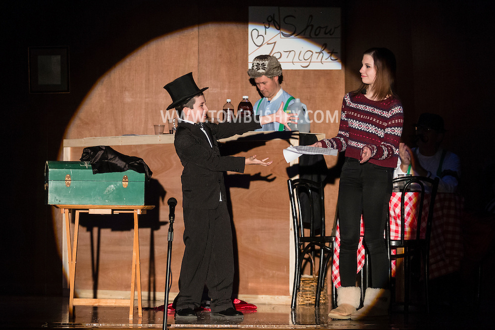 "Goshen, New York - Actors perform in a dress rehearsal for ""Yukon Saturday Night at C.J. Hooker Middle School on March 14, 2015. Proceeds from the play went to the Goshen Rotary Club's annual Family Fun Day."