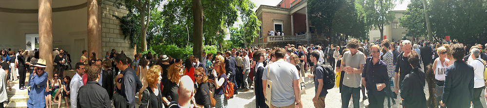 """Venice, Italy - 15th Architecture Biennale 2016, """"Reporting from the Front"""".<br /> Giardini.<br /> Between French (l.), British (m.) and German Pavilions."""