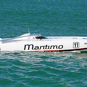 Maritimo 11, the second Maritimo entrant, Inboard Engine Class, in the Offshore Superboat Championships Coffs Harbour, New South Wales, Australia