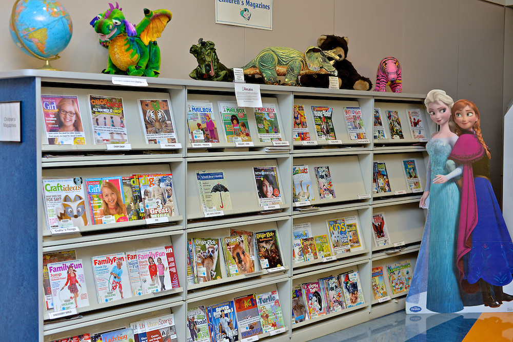 Children's magazine display at the Akron-Summit County Public Library.