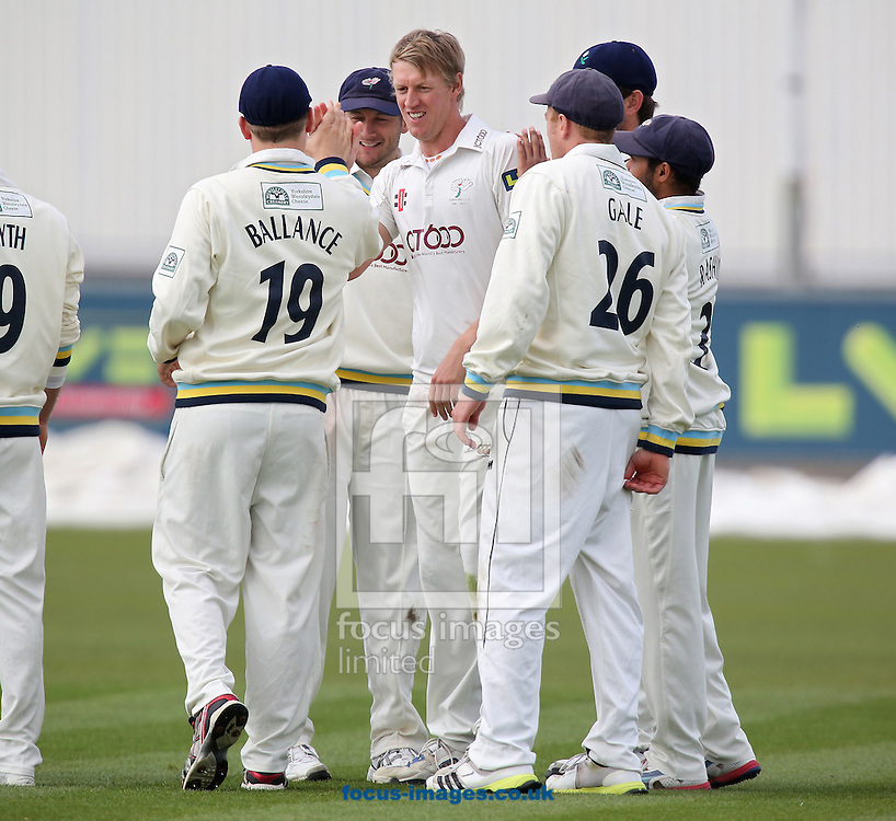 Picture by Paul Gaythorpe/Focus Images Ltd +447771 871632.24/04/2013.Yorkshire County Cricket Club players congratulates Steven Patterson on running out Graham Onions of Durham County Cricket Club during the LV County Championship Div One match at Emirates Durham ICG, Chester-le-Street.
