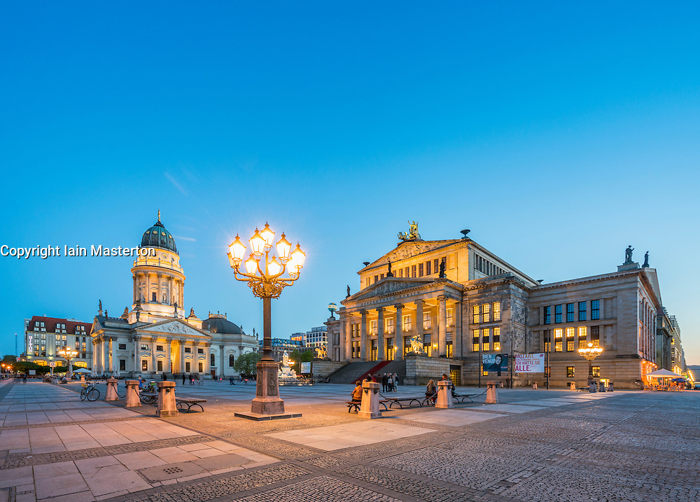 View of Gendarmenmarkt square in the evening in Mitte Berlin Germany