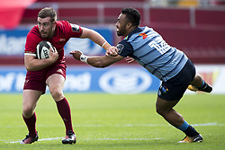 September 30, 2017 - Limerick, Ireland - JJ Hanrahan of Munster and Willis Halaholo of Cardiff during the Guinness PRO14 Conference A Round 5 match between Munster Rugby and Cardiff Blues at Thomond Park in Limerick, Ireland on September 30, 2017  (Credit Image: © Andrew Surma/NurPhoto via ZUMA Press)