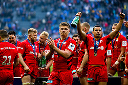 Owen Farrell of Saracens and his teammates celebrate after winning the Heineken Champions Cup after beating Leinster Rugby in the Final - Mandatory by-line: Robbie Stephenson/JMP - 11/05/2019 - RUGBY - St James' Park - Newcastle, England - Leinster Rugby v Saracens - Heineken Champions Cup Final