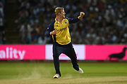 Simon Harmer of Essex Eagles celebrates the wicket of Ben Cox during the Vitality T20 Finals Day 2019 match between Worcestershire County Cricket Club and Essex County Cricket Club at Edgbaston, Birmingham, United Kingdom on 21 September 2019.