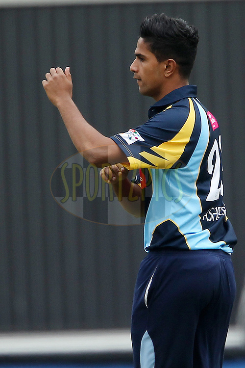 Moin Ashraf celebrates the wicket of Bhanuka Rajapakse during 1st Qualifying match of the Karbonn Smart CLT20 South Africa between Uva Next and Yorkshire held at The Wanderers Stadium in Johannesburg, South Africa on the 9th October 2012..Photo by Ron Gaunt/SPORTZPICS/CLT20