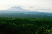 Gunung Agung (3142m), active volcano and Bali's highest mountain, towering over rice terraces.
