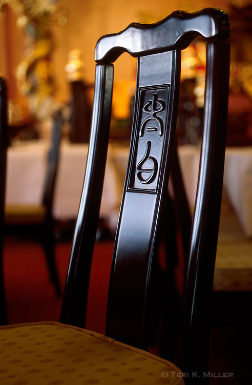 A chair in the Jumbo Floating Restaurant in Aberdeen, Hong Kong, China.