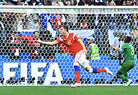 3:0 Jubel Russland Torschuetze Artem Dzyuba<br /> Moskau, 14.06.2018, FIFA Fussball WM 2018 in Russland, Eroeffnungsspiel, Vorrunde, Russland - Saudi-Arabien<br /> Russland - Saudi-Arabia<br /> Norway only