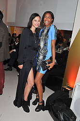 Left to right, LEAH WELLER and TOLULA ADEYEMI at the unveiling of the Helena Christensen and Swarovski Crystallized Unsigned Model search winners held at Swarovski Crystallized, 24 Great Marlborough Street, London on 26th January 2012.