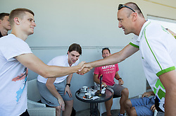Luka Rupnik and Jure Zdovc, head coach during meeting of Slovenian National Nasketball Team at the beginning of Training camp for Eurobasket 2015, on July 18, 2015 in Ljubljana, Slovenia. Photo by Vid Ponikvar / Sportida