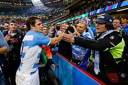 Suppoerters celebrate with Argentina's Man of the Match Nicolas Sanchez after Argentina win the match - Mandatory byline: Rogan Thomson/JMP - 07966 386802 - 18/10/2015 - RUGBY UNION - Millennium Stadium - Cardiff, Wales - Ireland v Argentina - Rugby World Cup 2015 Quarter Finals.