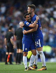 Chelsea's Pedro and Gary Cahill celebrate at full time