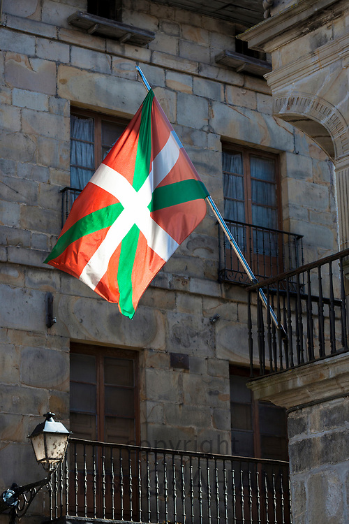 Basque flag in Pedro Devn Aren Kalea in Bergara in Basque region of Northern Spain