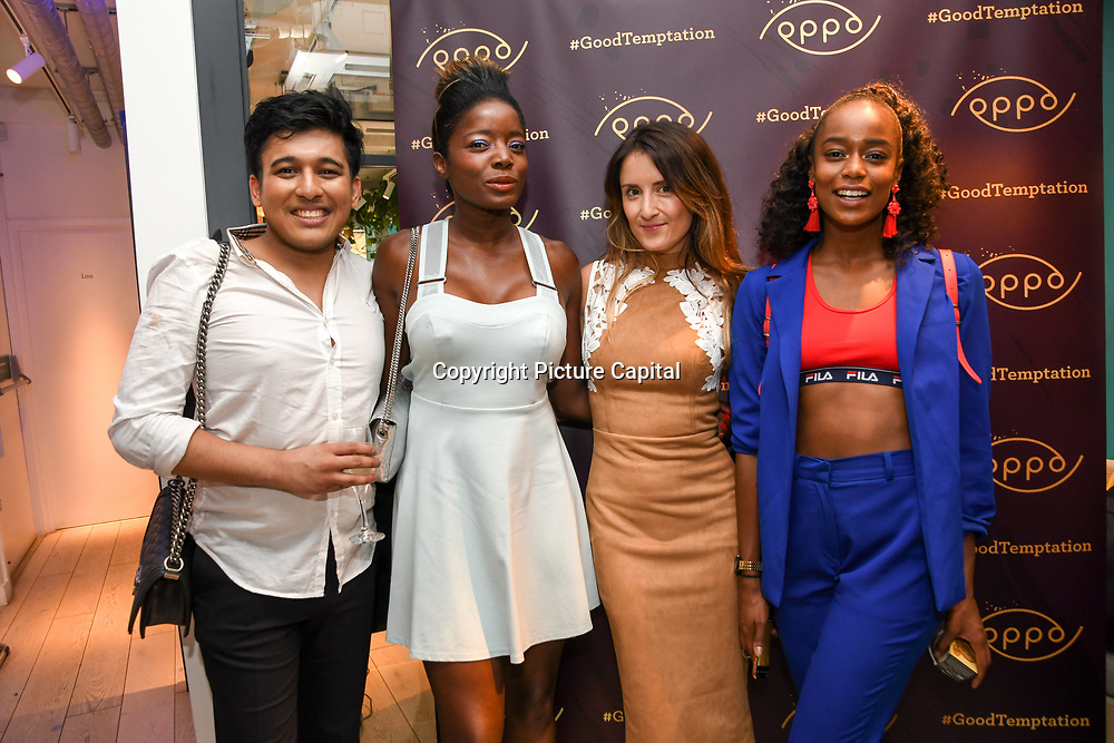 Style icon Nat, Maria Jordan & Annalise Dayes attend the Oppo party to launch its new Madagascan Vanilla, Sicilian Lemon and Raspberry Cheesecakes, served with Skinny Prosecco at Farm Girls Café, 1 Carnaby Street, Soho, London, UK on July 18 2018.