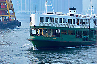 Star Ferries boats crossing the Harbour, , Hong Kong, Hong Kong, August 2008   Photo: Peter Llewellyn