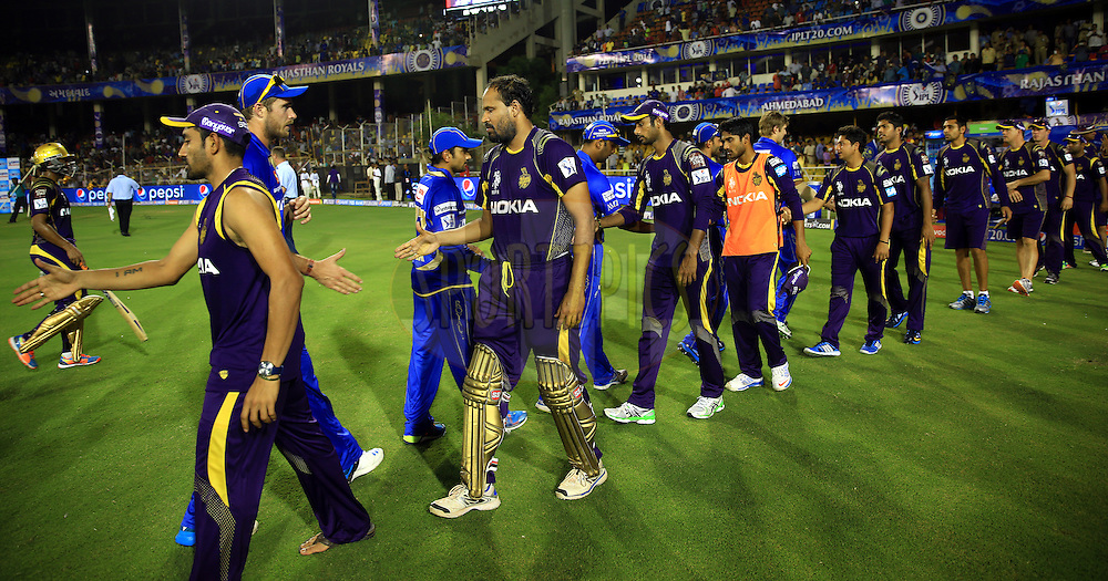 players of Kolkatta Knight Riders and players of Rajasthan Royals shakes hand after the match 25 of the Pepsi Indian Premier League Season 2014 between the Rajasthan Royals and the Kolkata Knight Riders held at the Sardar Patel Stadium, Ahmedabad, India on the 5th May  2014<br /> <br /> Photo by Sandeep Shetty / IPL / SPORTZPICS      <br /> <br /> <br /> <br /> Image use subject to terms and conditions which can be found here:  http://sportzpics.photoshelter.com/gallery/Pepsi-IPL-Image-terms-and-conditions/G00004VW1IVJ.gB0/C0000TScjhBM6ikg