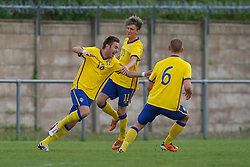 FLINT, WALES - Thursday, May 12, 2011: Sweden's Muamer Tankovic celebrates scoring the first goal against Wales during the Men's Under-17's International Friendly match at Cae-y-Castell. (Photo by David Rawcliffe/Propaganda)
