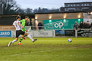 Forest Green Rovers Christian Doidge(9) shoots at goal <br /> scores a goal 0-2 during the Vanarama National League match between Bromley FC and Forest Green Rovers at Hayes Lane, Bromley, United Kingdom on 7 January 2017. Photo by Shane Healey.