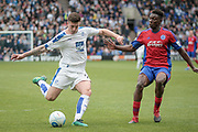 Cole Stockton (Tranmere Rovers) takes a shot during the Vanarama National League second leg play off match between Tranmere Rovers and Aldershot Town at Prenton Park, Birkenhead, England on 6 May 2017. Photo by Mark P Doherty.