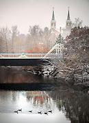 Snow blankets the Gonzaga campus.