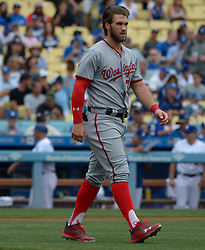 June 7, 2017 - Los Angeles, California, U.S. - Washington Nationals' Bryce Harper walks toward his position after striking out against the Los Angeles Dodgers in the first inning of a Major League baseball game at Dodger Stadium on Wednesday, June 7, 2017 in Los Angeles. (Photo by Keith Birmingham, Pasadena Star-News/SCNG) (Credit Image: © San Gabriel Valley Tribune via ZUMA Wire)