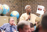 Marlita Charles, teacher at Cox Elementary School addresses the SB5 town hall meeting of State Representative Jarrod Martin at Xenia High School, Monday, March 14, 2011.  The meeting was originally scheduled for the City Manager's office, but was moved because of the number of people that wanted to attend.