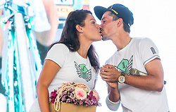 Primoz Roglic and his girlfriend Lora Klinc during reception of slovenian rider Primoz Roglic after Tour de France 2018 on August 6, 2018 in Ljubljana, Slovenia. Photo by Urban Meglic / Sportida