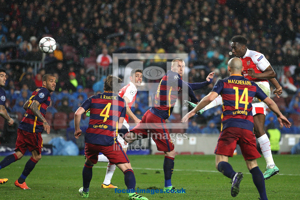 Mohamed Elneny of Arsenal scores their first goal during the UEFA Champions League match at Camp Nou, Barcelona<br /> Picture by Yannis Halas/Focus Images Ltd +353 (87) 258201<br /> 16/03/2016