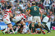 South Africa's Back Row Schalk Burger looks on with both teams pushing each other during the Rugby World Cup Pool B match between South Africa and Japan at the Community Stadium, Brighton and Hove, England on 19 September 2015. Photo by Phil Duncan.
